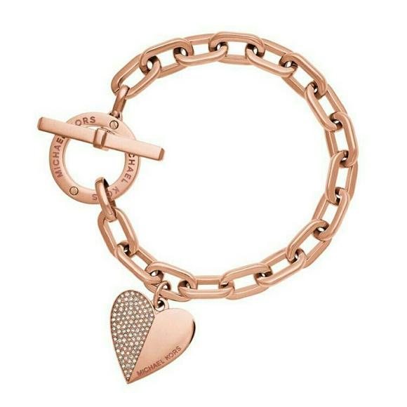 63 off Michael Kors Jewelry Rose Gold Heart Bracelet Poshmark